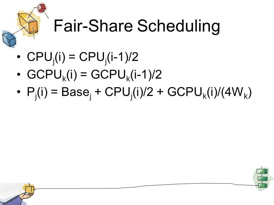 Fair-Share Scheduling CPU j (i) = CPU j (i-1)/2 GCPU k (i) = GCPU k (i-1)/2 P j (i) = Base j + CPU j (i)/2 + GCPU k (i)/(4W k )
