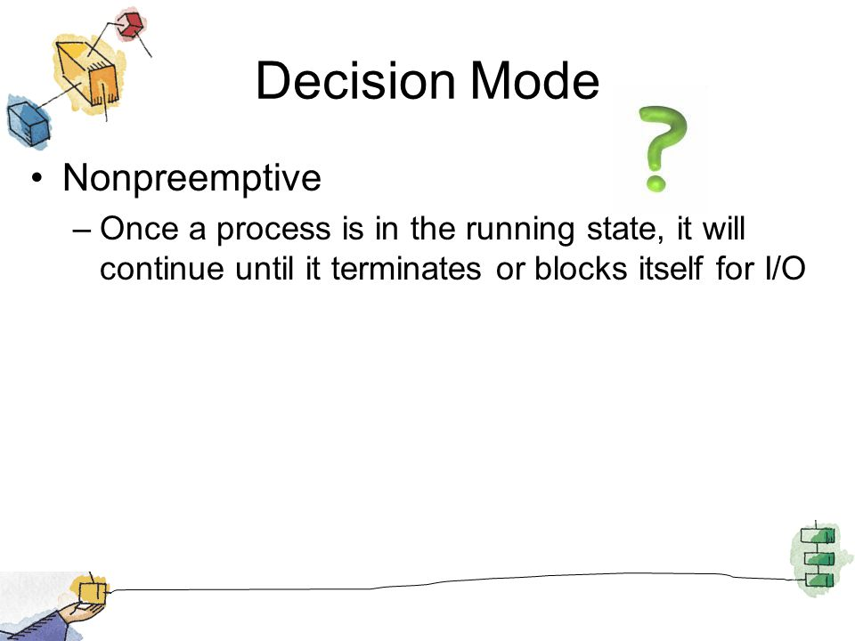 Decision Mode Preemptive –Currently running process may be interrupted and moved to the Ready state by the operating system –Allows for better service since any one process cannot monopolize the processor for very long
