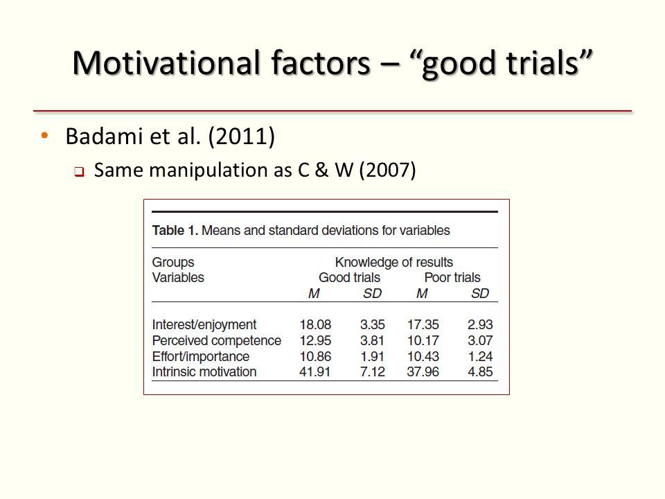 Motivational factors – good trials Badami et al. (2011) Same manipulation as C & W (2007)