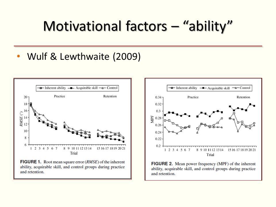 Motivational factors – ability Wulf & Lewthwaite (2009)