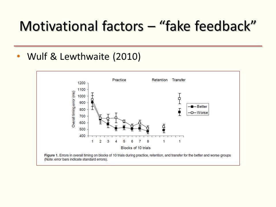 Motivational factors – fake feedback Wulf & Lewthwaite (2010)