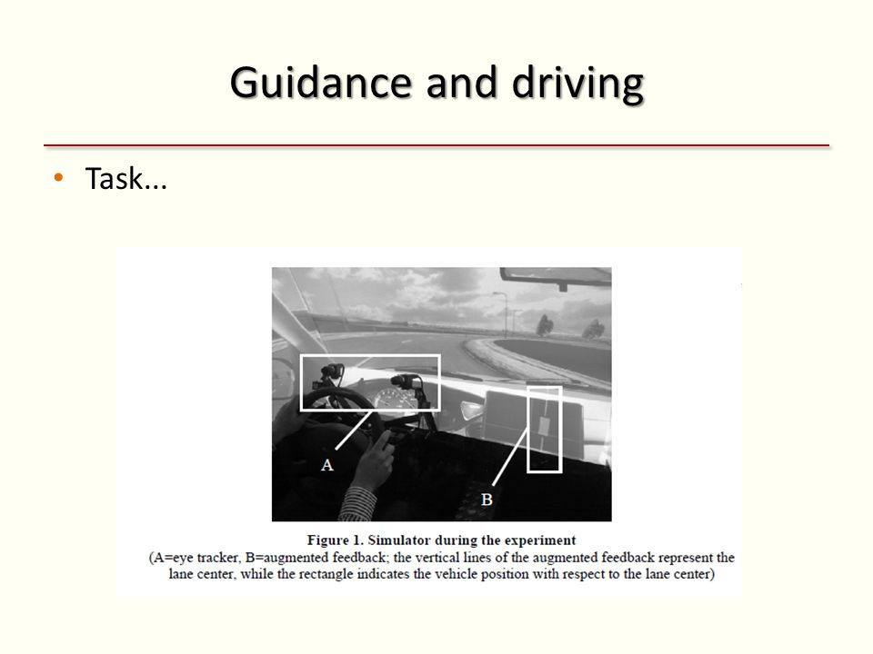 Guidance and driving Task... Feedback bad!