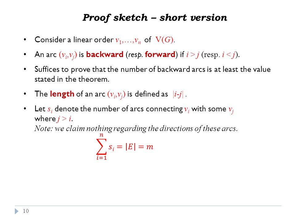 10 Proof sketch – short version