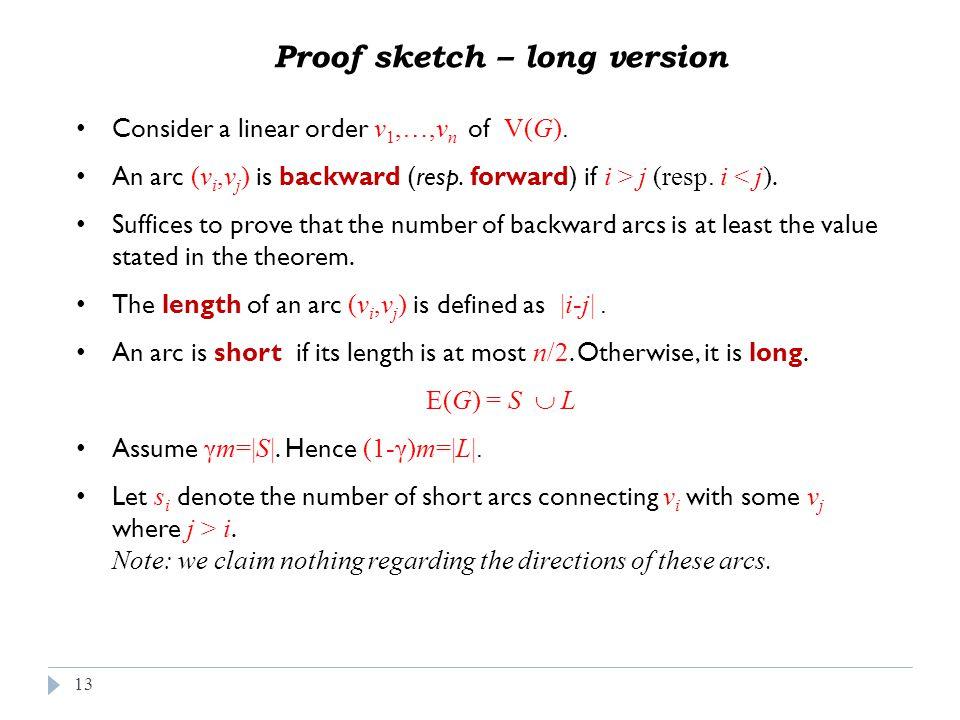 13 Consider a linear order v 1,…,v n of V(G). An arc (v i,v j ) is backward (resp.