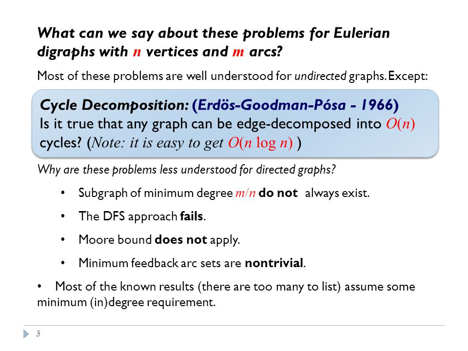 3 What can we say about these problems for Eulerian digraphs with n vertices and m arcs.