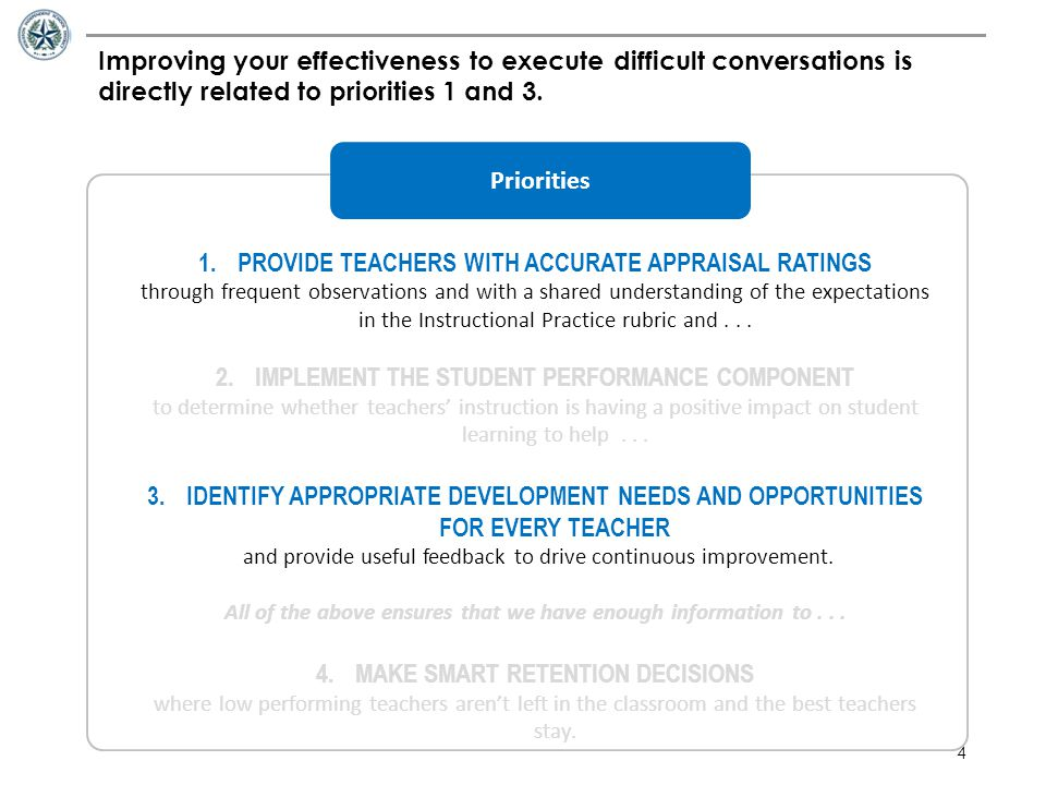 4 Improving your effectiveness to execute difficult conversations is directly related to priorities 1 and 3. 1.PROVIDE TEACHERS WITH ACCURATE APPRAISA
