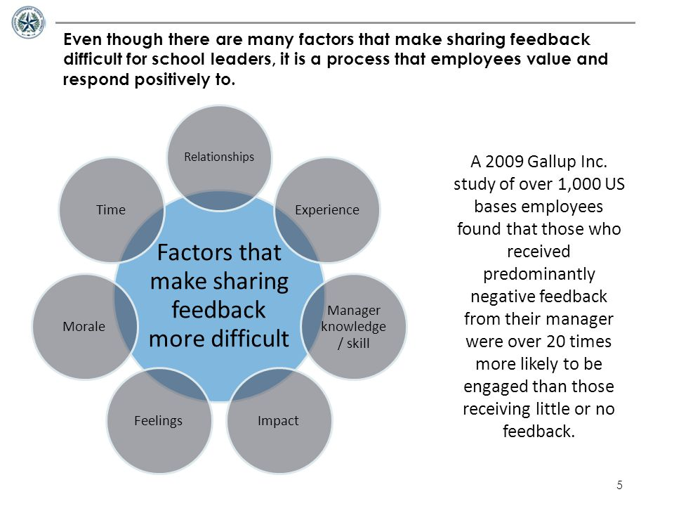 5 Even though there are many factors that make sharing feedback difficult for school leaders, it is a process that employees value and respond positiv