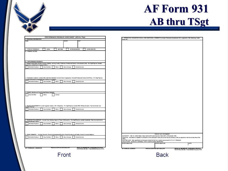 AF Form 931 AB thru TSgt FrontBack