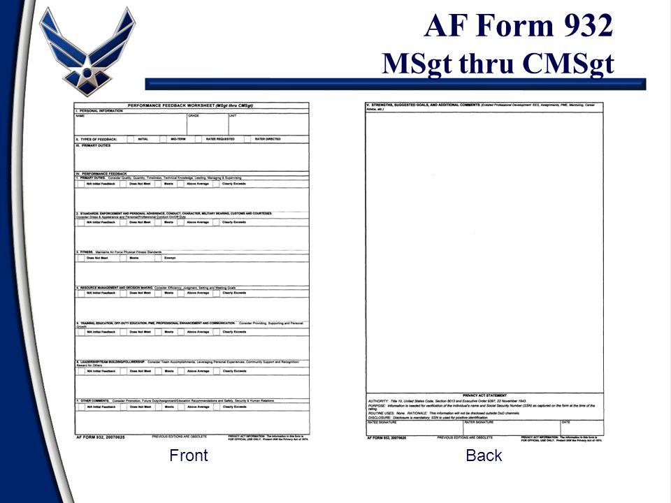AF Form 932 MSgt thru CMSgt FrontBack
