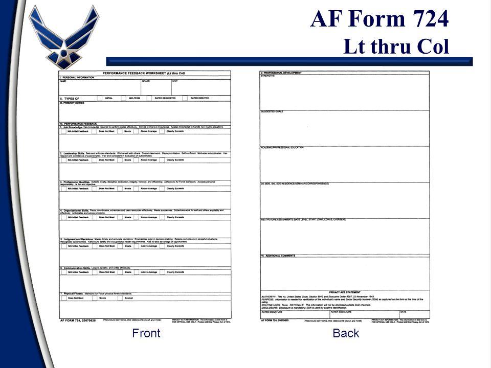 AF Form 724 Lt thru Col FrontBack