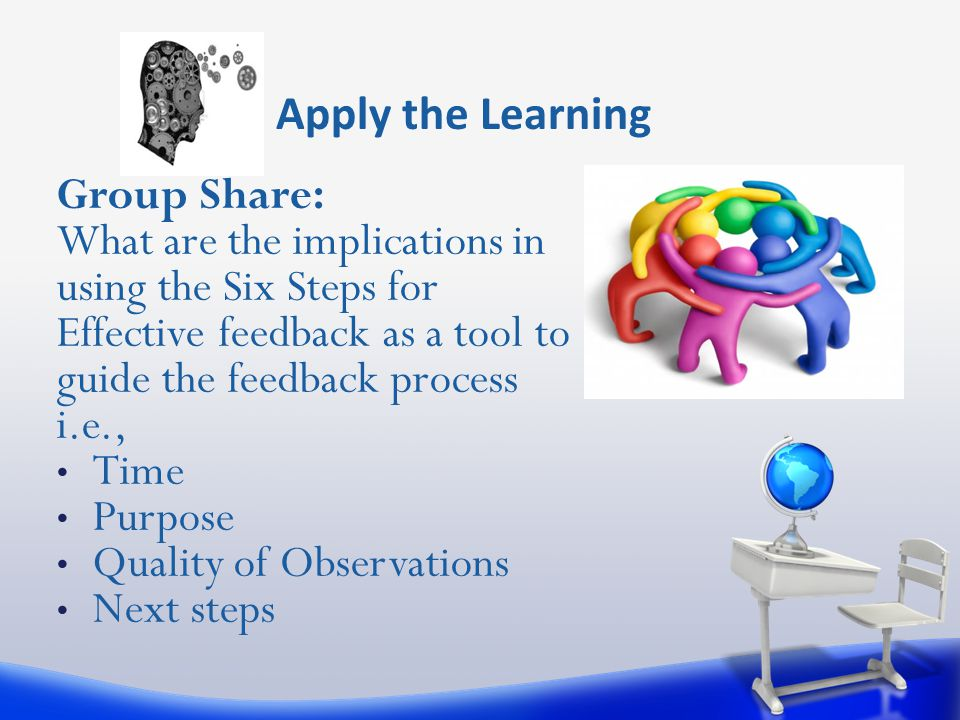 Apply the Learning Group Share: What are the implications in using the Six Steps for Effective feedback as a tool to guide the feedback process i.e.,