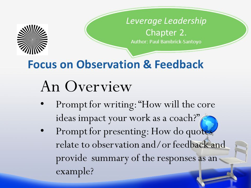 Focus on Observation & Feedback Leverage Leadership Chapter 2. Author: Paul Bambrick-Santoyo An Overview Prompt for writing: How will the core ideas i