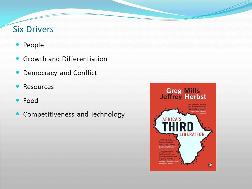 Six Drivers People Growth and Differentiation Democracy and Conflict Resources Food Competitiveness and Technology