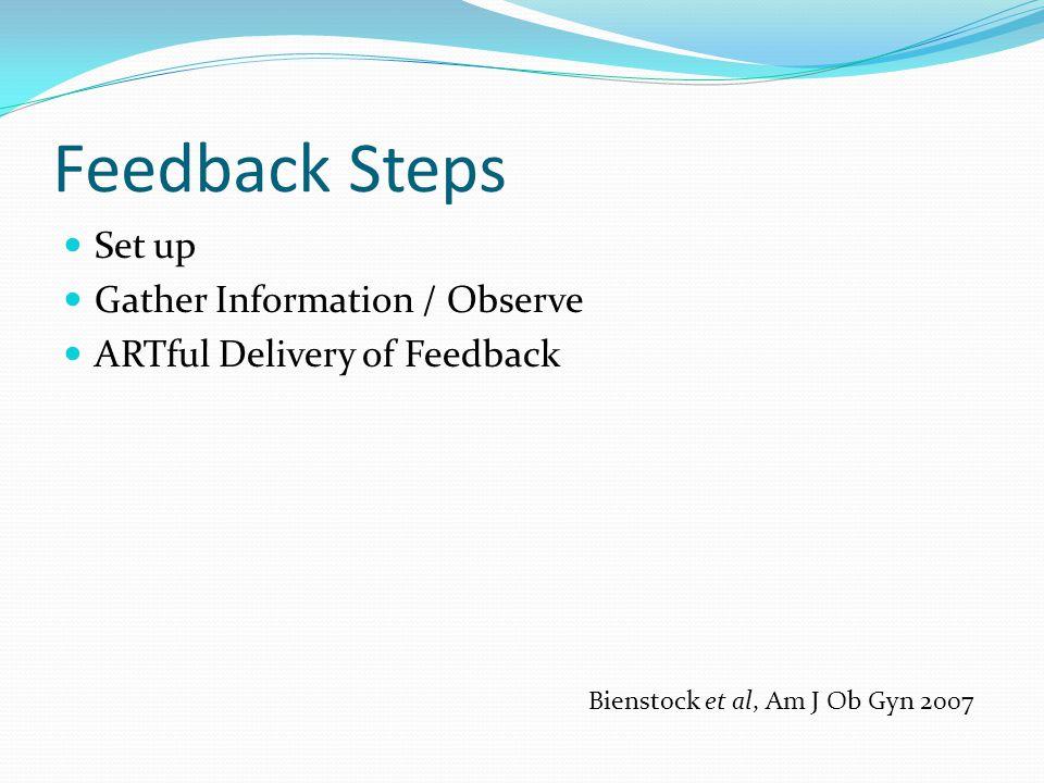 Feedback Steps Set up Gather Information / Observe ARTful Delivery of Feedback Bienstock et al, Am J Ob Gyn 2007