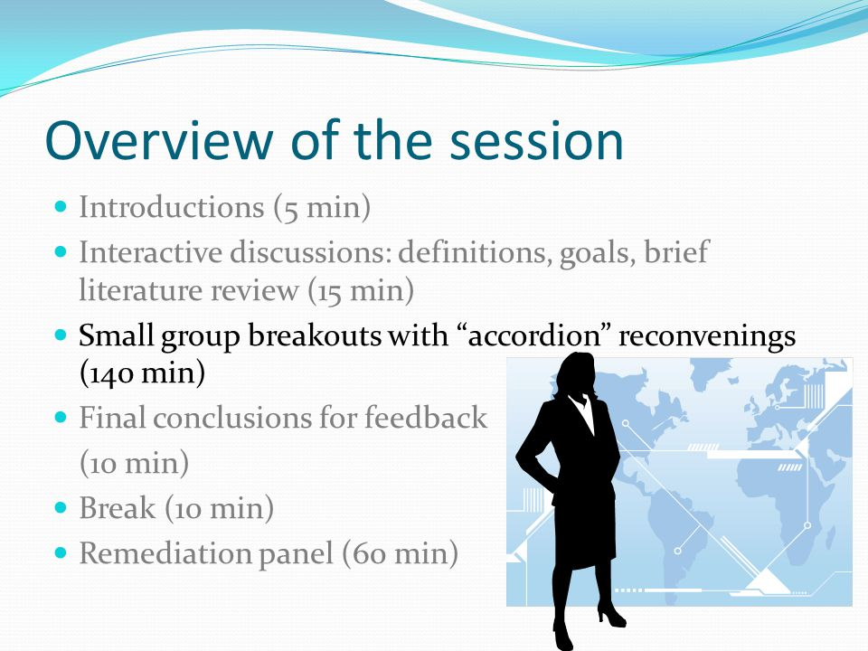 Overview of the session Introductions (5 min) Interactive discussions: definitions, goals, brief literature review (15 min) Small group breakouts with