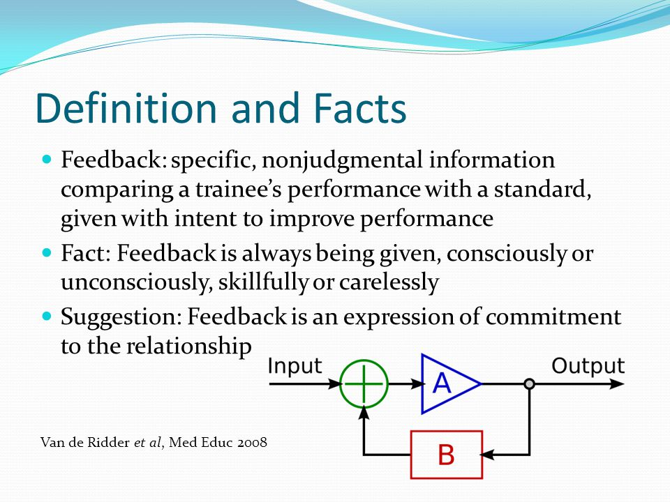 Definition and Facts Feedback: specific, nonjudgmental information comparing a trainees performance with a standard, given with intent to improve perf