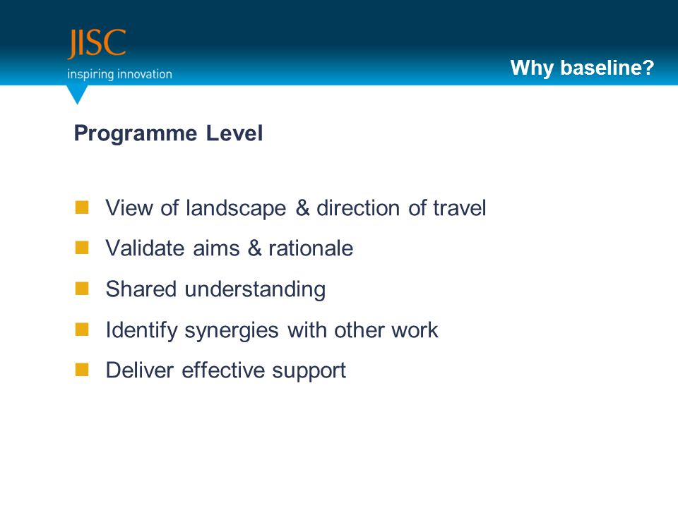 Why baseline? Programme Level View of landscape & direction of travel Validate aims & rationale Shared understanding Identify synergies with other wor