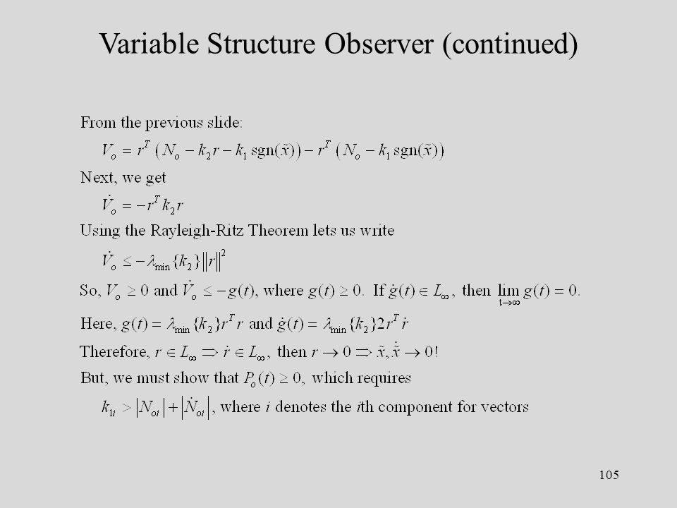 105 Variable Structure Observer (continued)
