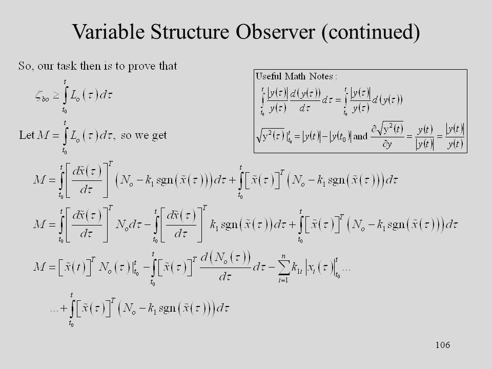 106 Variable Structure Observer (continued)