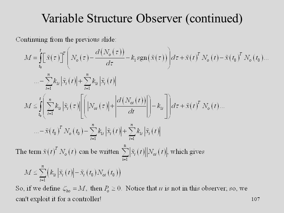 107 Variable Structure Observer (continued)