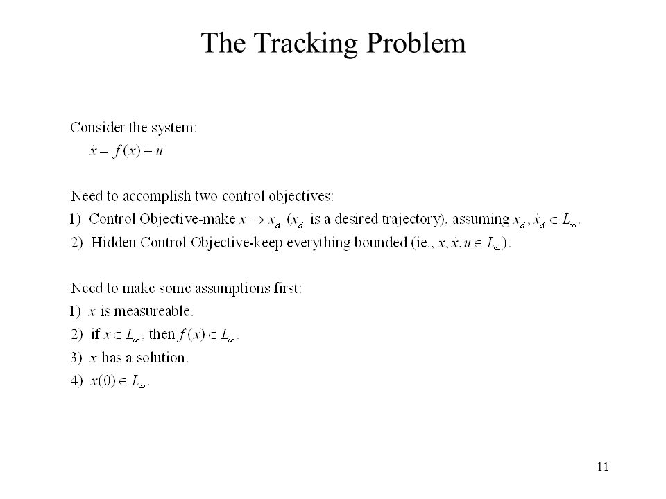 11 The Tracking Problem