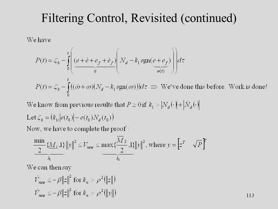 113 Filtering Control, Revisited (continued)