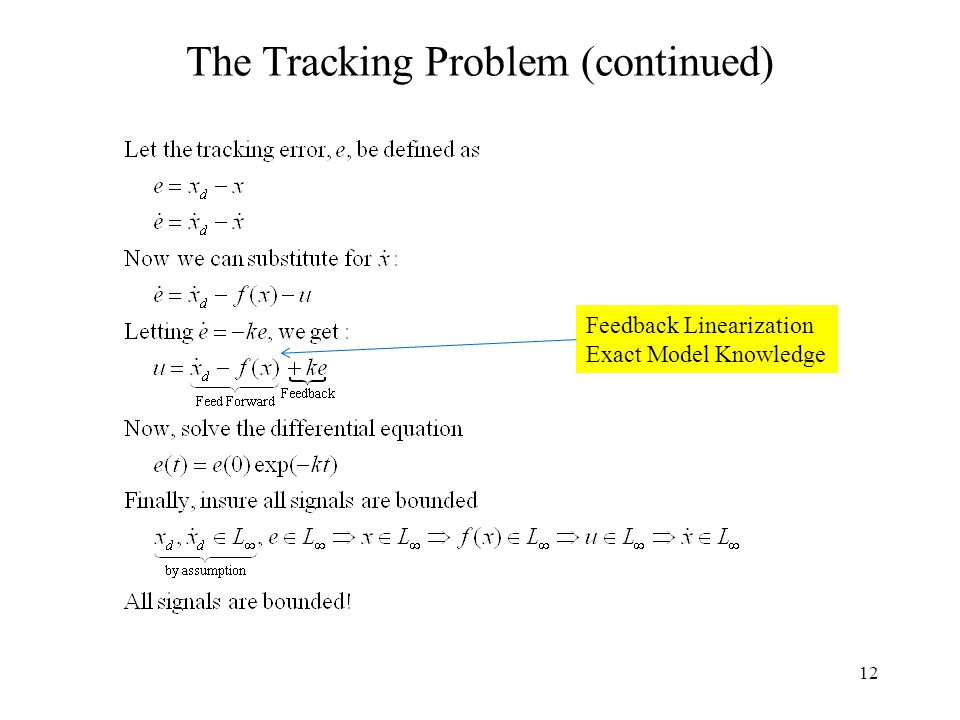 12 The Tracking Problem (continued) Feedback Linearization Exact Model Knowledge
