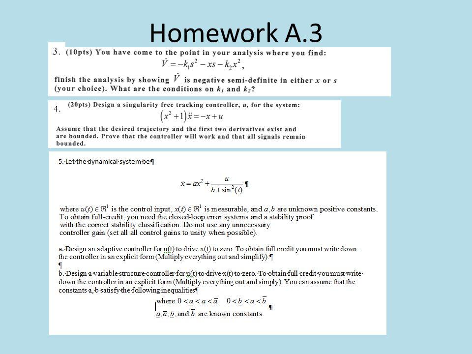 Homework A.3 3. 4.