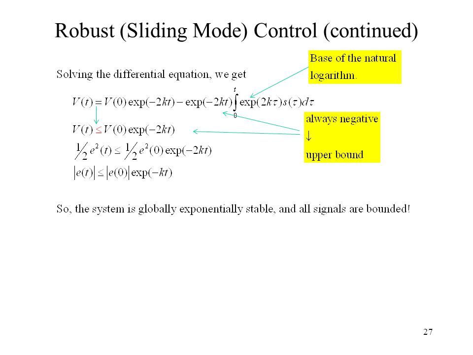27 Robust (Sliding Mode) Control (continued)