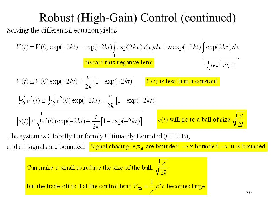 30 Robust (High-Gain) Control (continued)
