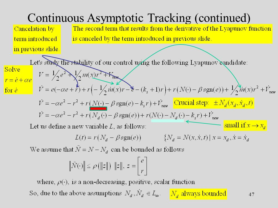 47 Continuous Asymptotic Tracking (continued)