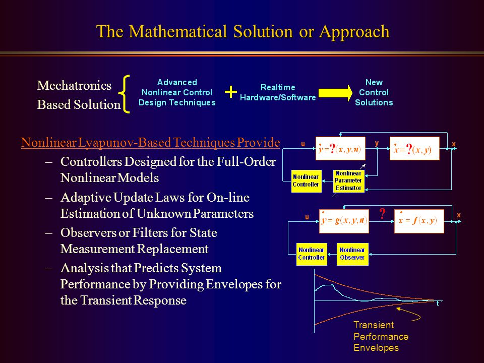 Nonlinear Lyapunov-Based Techniques Provide –Controllers Designed for the Full-Order Nonlinear Models –Adaptive Update Laws for On-line Estimation of Unknown Parameters –Observers or Filters for State Measurement Replacement –Analysis that Predicts System Performance by Providing Envelopes for the Transient Response The Mathematical Solution or Approach Mechatronics Based Solution Transient Performance Envelopes