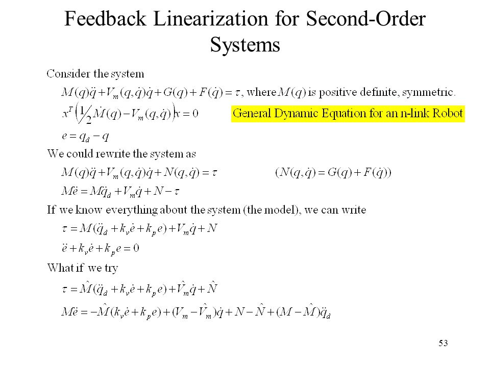 53 Feedback Linearization for Second-Order Systems
