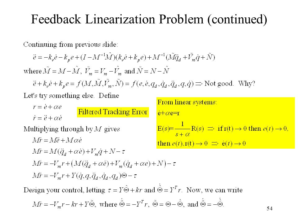 54 Feedback Linearization Problem (continued)