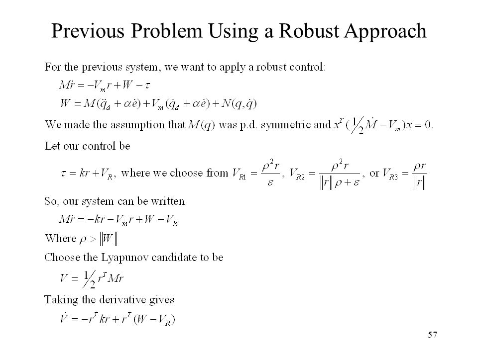 57 Previous Problem Using a Robust Approach