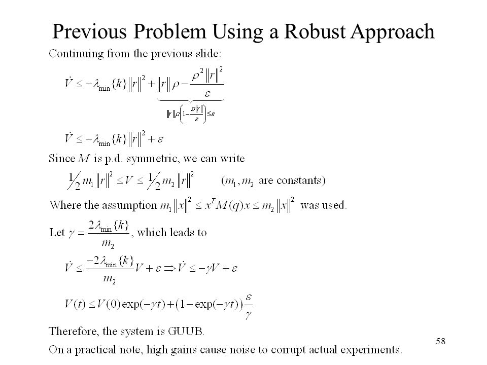 58 Previous Problem Using a Robust Approach
