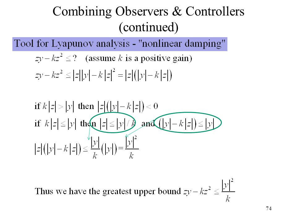 74 Combining Observers & Controllers (continued)
