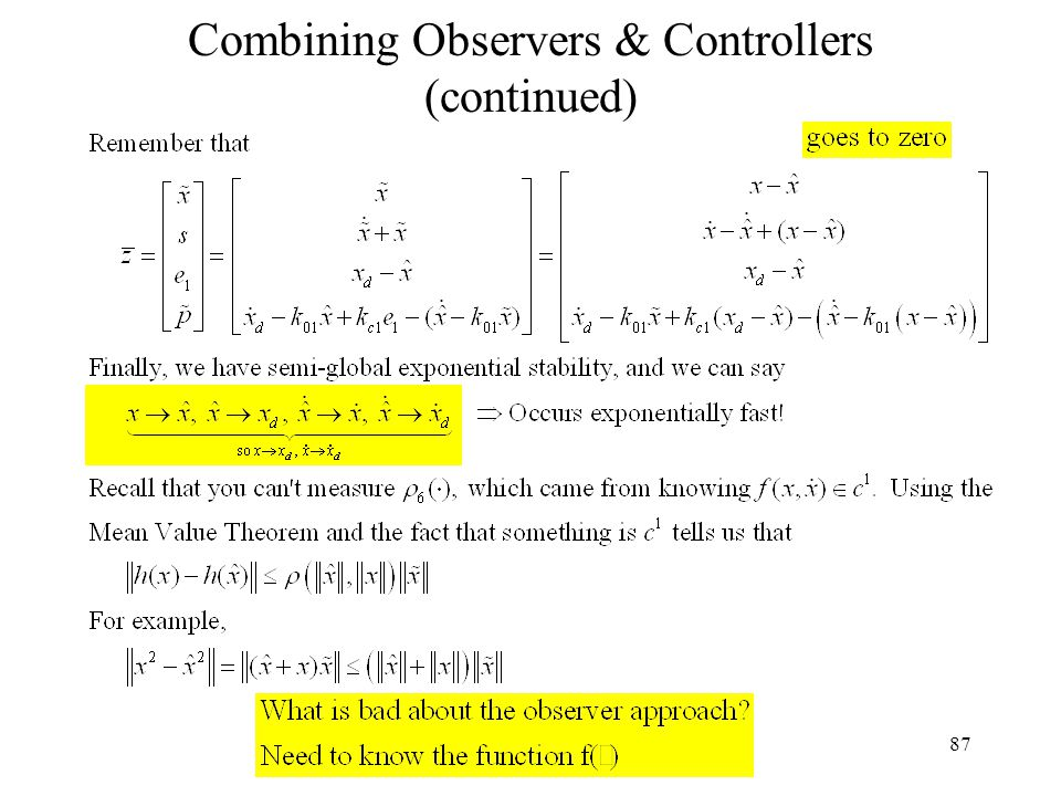 87 Combining Observers & Controllers (continued)