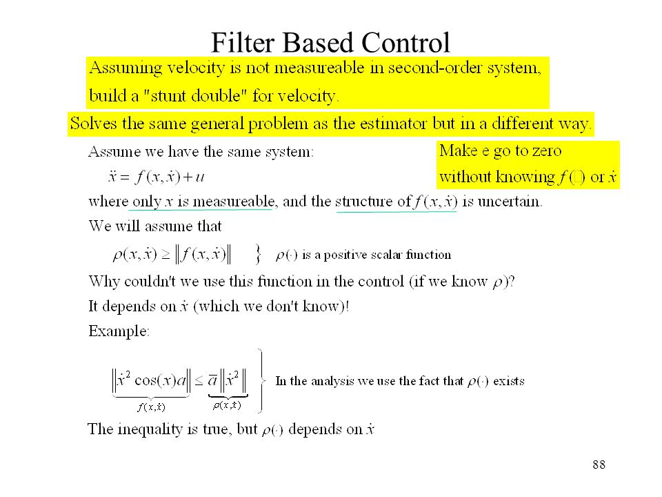 88 Filter Based Control