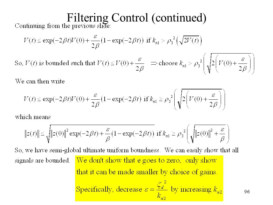 96 Filtering Control (continued)