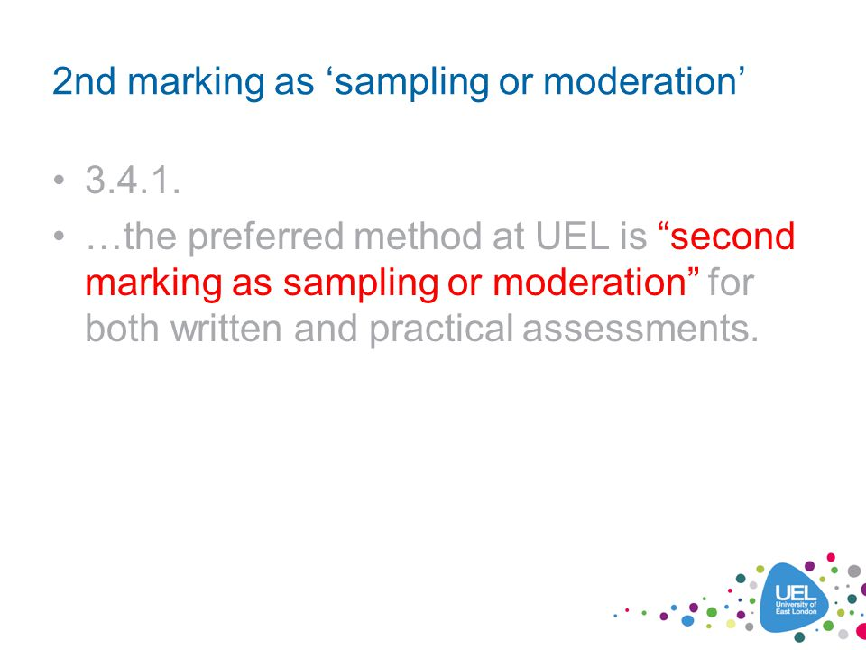 2nd marking as sampling or moderation 3.4.1.