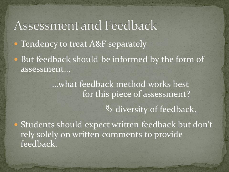 Diversity of assessment Coordinated assessment approach Assessment calendar (College of Science system) Spread of assessment Early assessment Small assessment: Balanced assessment (for learning): Choice of assessment