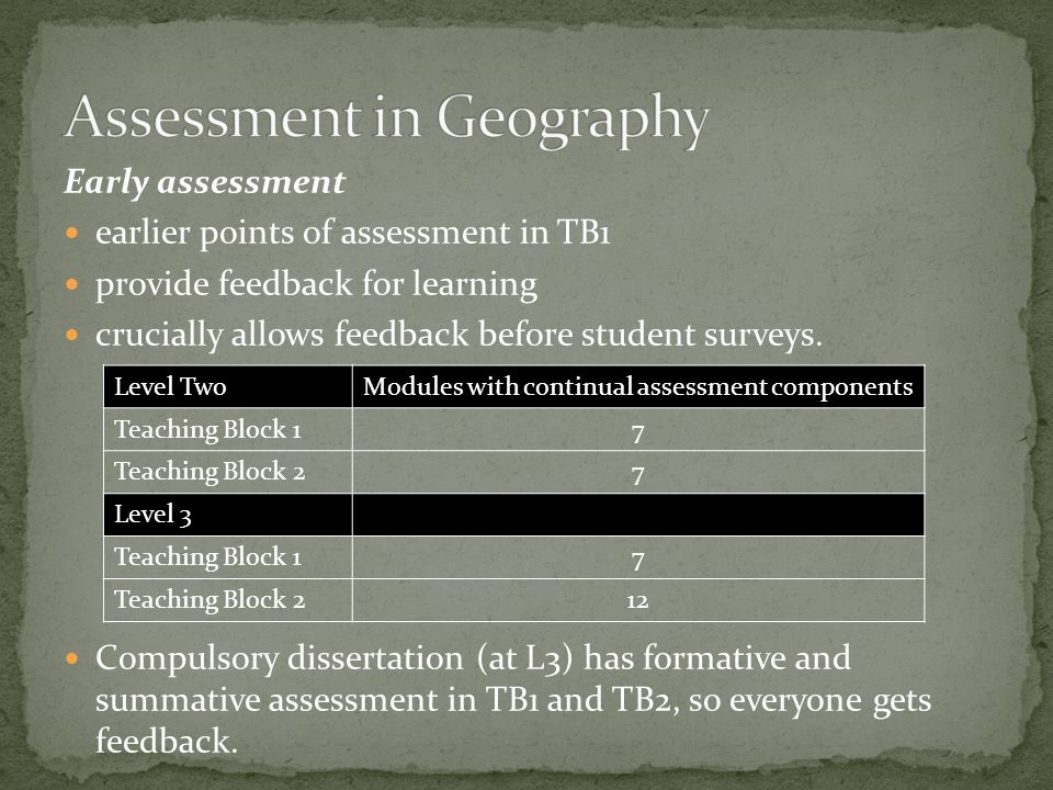 Early assessment earlier points of assessment in TB1 provide feedback for learning crucially allows feedback before student surveys.