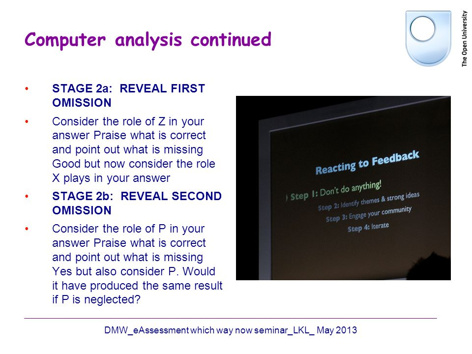Computer analysis continued STAGE 2a: REVEAL FIRST OMISSION Consider the role of Z in your answer Praise what is correct and point out what is missing