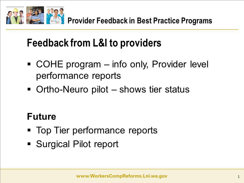 1 Provider Feedback in Best Practice Programs COHE program – info only, Provider level performance reports Ortho-Neuro pilot – shows tier status Futur