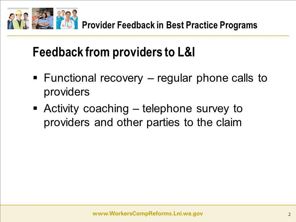 2 Provider Feedback in Best Practice Programs Functional recovery – regular phone calls to providers Activity coaching – telephone survey to providers