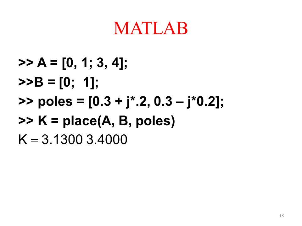 MATLAB >> A = [0, 1; 3, 4]; >>B = [0; 1]; >> poles = [0.3 + j*.2, 0.3 – j*0.2]; >> K = place(A, B, poles) K 3.1300 3.4000 13