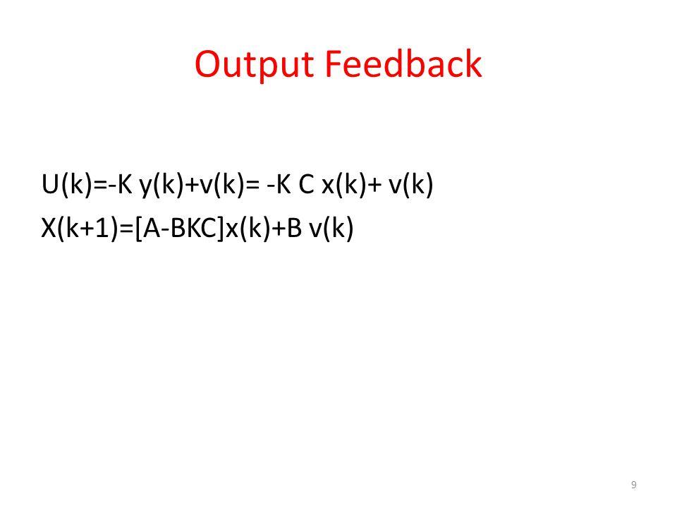 U(k)=-K y(k)+v(k)= -K C x(k)+ v(k) X(k+1)=[A-BKC]x(k)+B v(k) 9