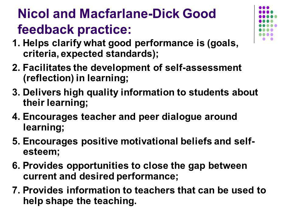 Nicol and Macfarlane-Dick Good feedback practice: 1. Helps clarify what good performance is (goals, criteria, expected standards); 2. Facilitates the