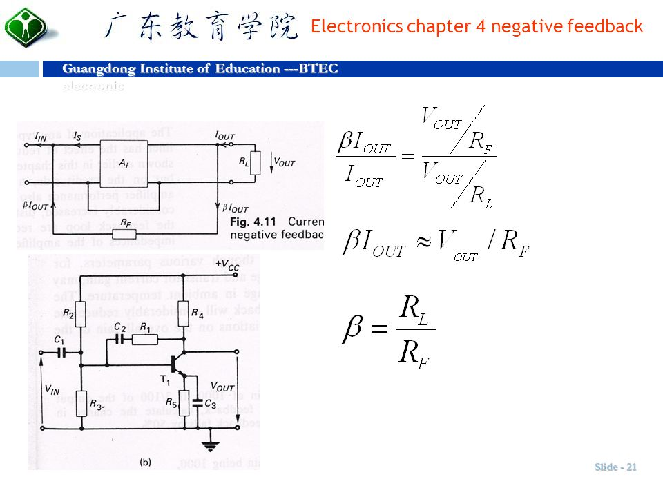 et Dignitas Guangdong Institute of Education ---BTEC electronic Amor Electronics chapter 4 negative feedback Slide - 21
